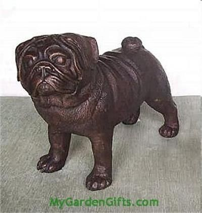 Bronze Pug Statue And Sculpture   Our Bronze Pug Sculpture Stands Alert And  Watchful In This