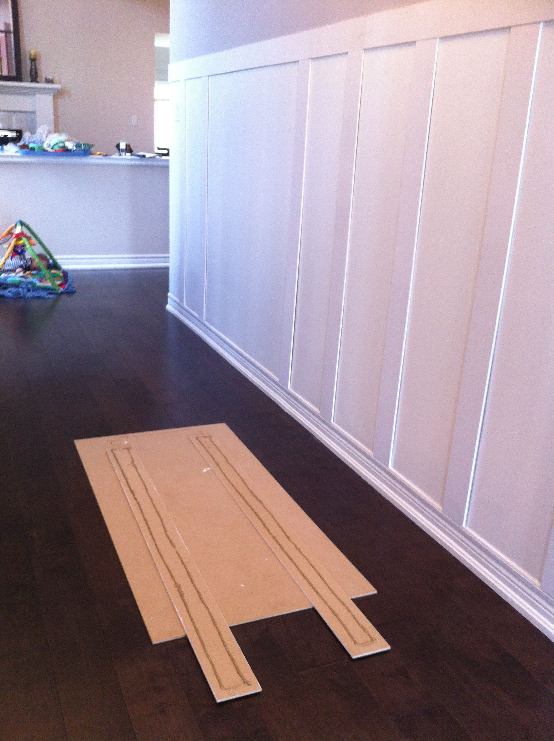Diy Board Batten Wainscotting Using Existing Baseboards Used 1 4 Inch Thick Mdf Sheets For Battens And Door Stop Trim Fo Board And Batten Diy Boards Batten