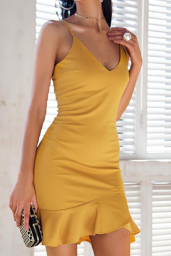96ffbb7d6251 Bodycon Mini Dress Yellow Tight Dress Ruffle Bottom Mini Dress for Night  Out Yellow  yellow dress minidress tightdress outfit mermaiddress fashion