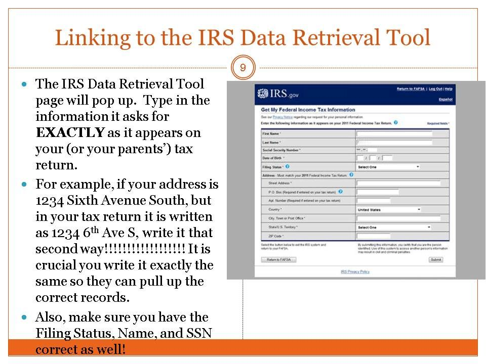 Use The Irs Data Retrieval Tool In The Fafsa To Transfer Your Tax