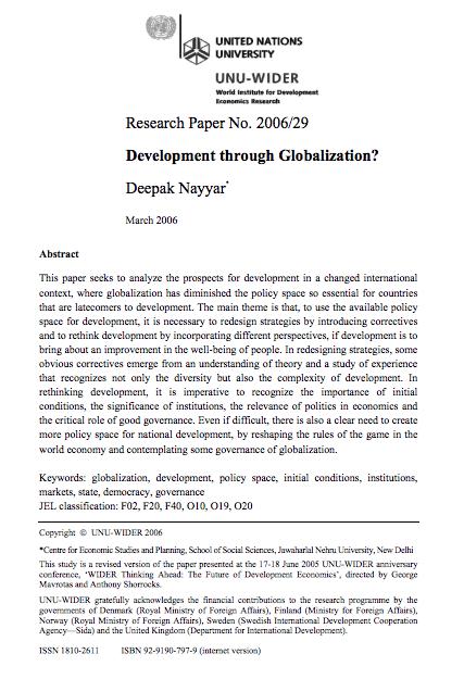 Nayyar D 2006 Development Through Globalization Research Paper No 2006 29 Unu Wider Helsinki Global Research Paper Development