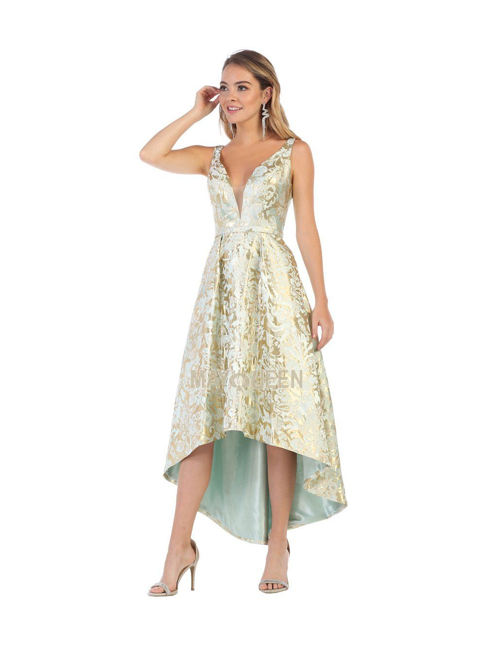 2b956151467a MQ 7681 - Deep-V Embossed High Low Gown | Diggz Prom | Pinterest | High low  gown, Prom and Deep