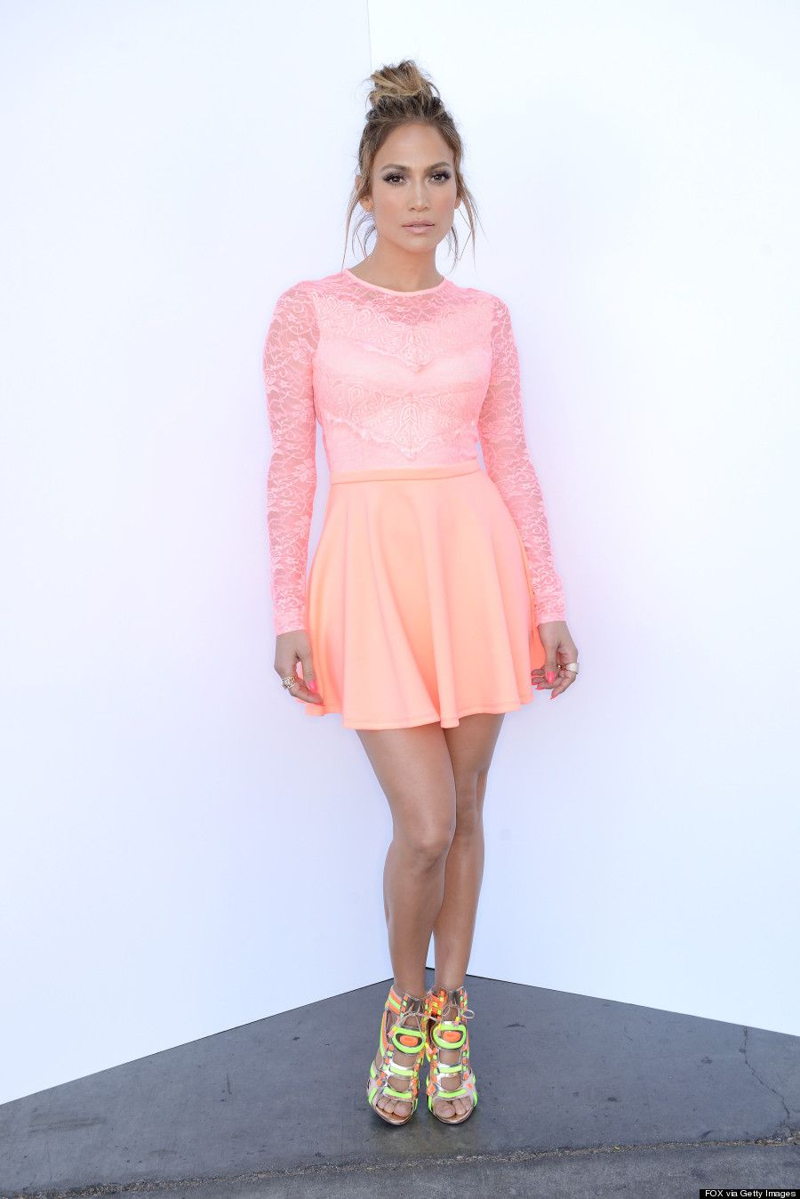 Jennifer Lopez pink neon drees   Oh, look at that! -Fashion   Pinterest