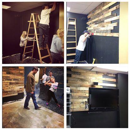 diy church youth room renovation, concrete masonry, crafts, diy, flooring, pallet