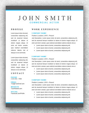 Actor Resume Template Word  Resume Template Start  Thespian