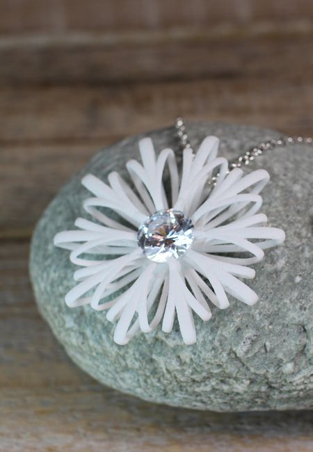 f7a6ddf1c5ef White flower statement pendant with zirconia stone and a sterling silver  chain.  flowernecklace