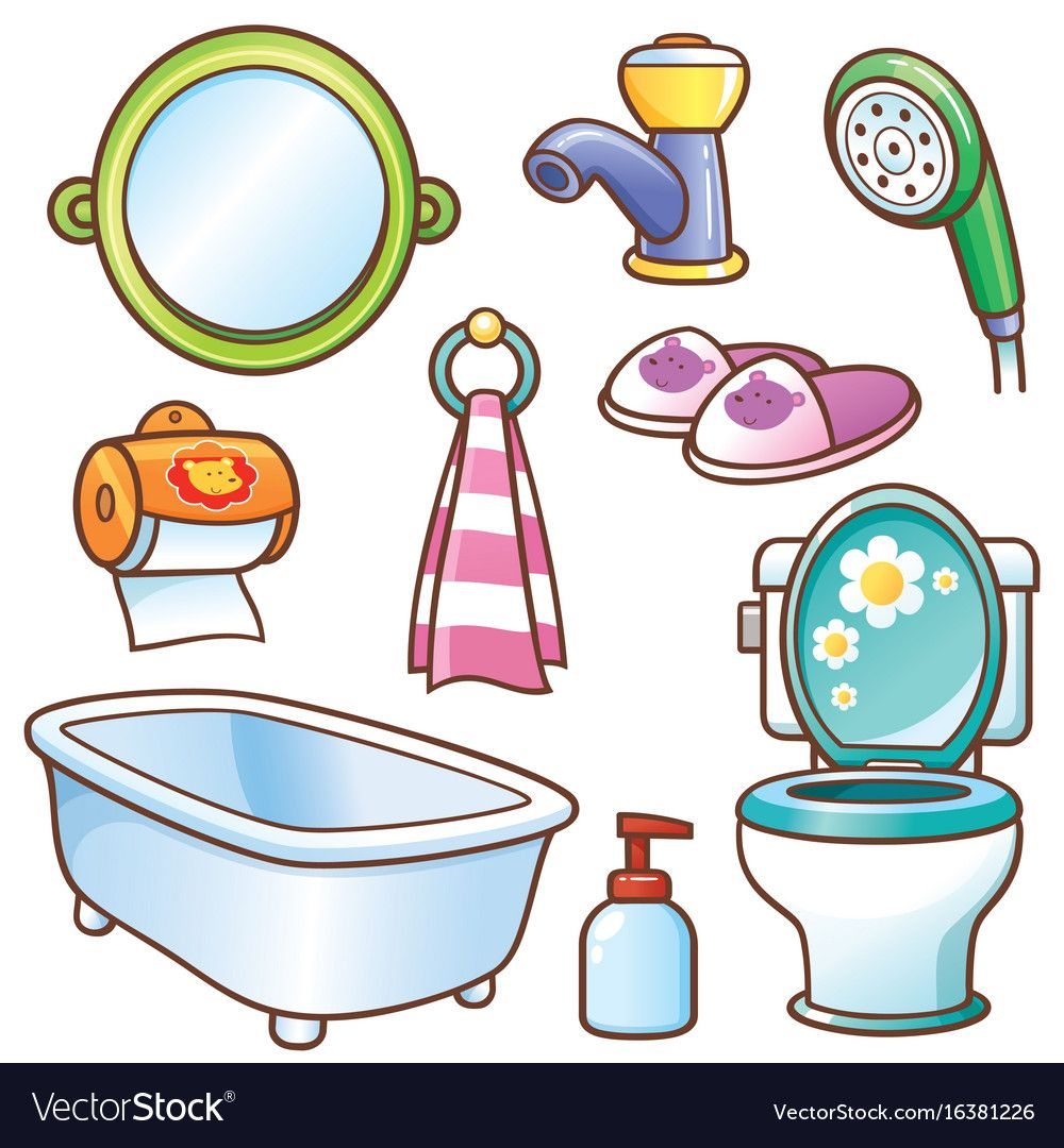 Vector Illustration Of Cartoon Bathroom Element Set Download A