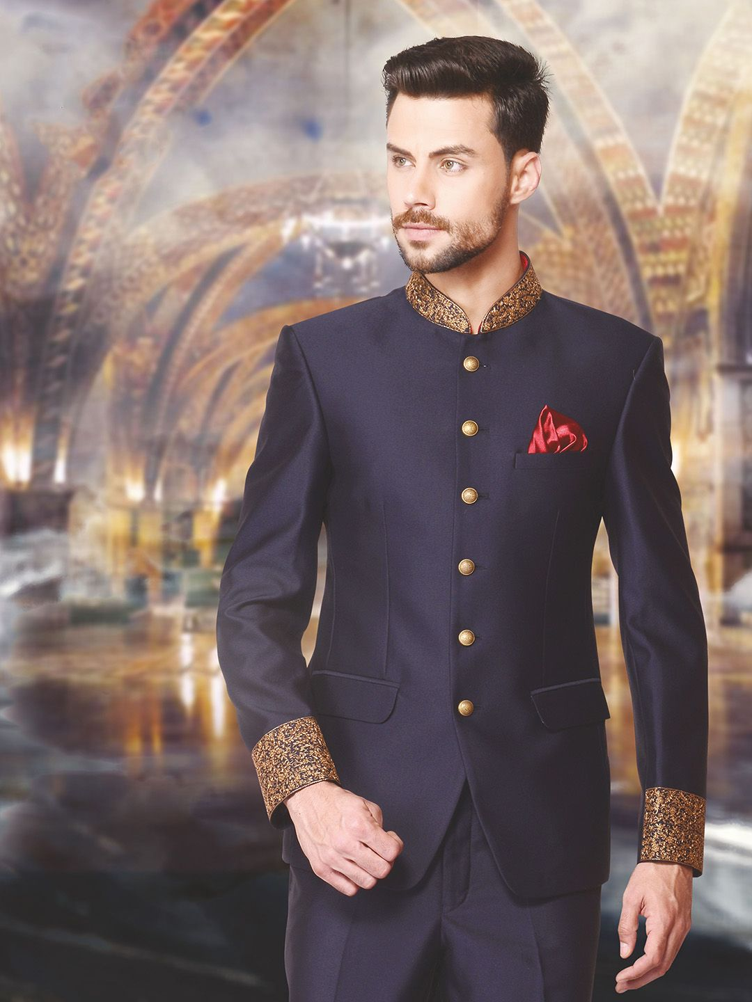 580006108 Solid navy wedding wear jodhpuri suit in terry rayon - G3-MCO0660 ...