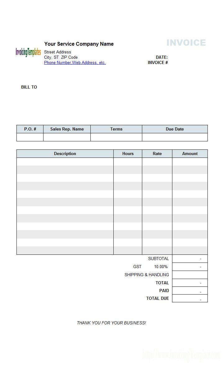 Hourly Service Billing Statement Invoice Template Word Invoice Template Printable Invoice