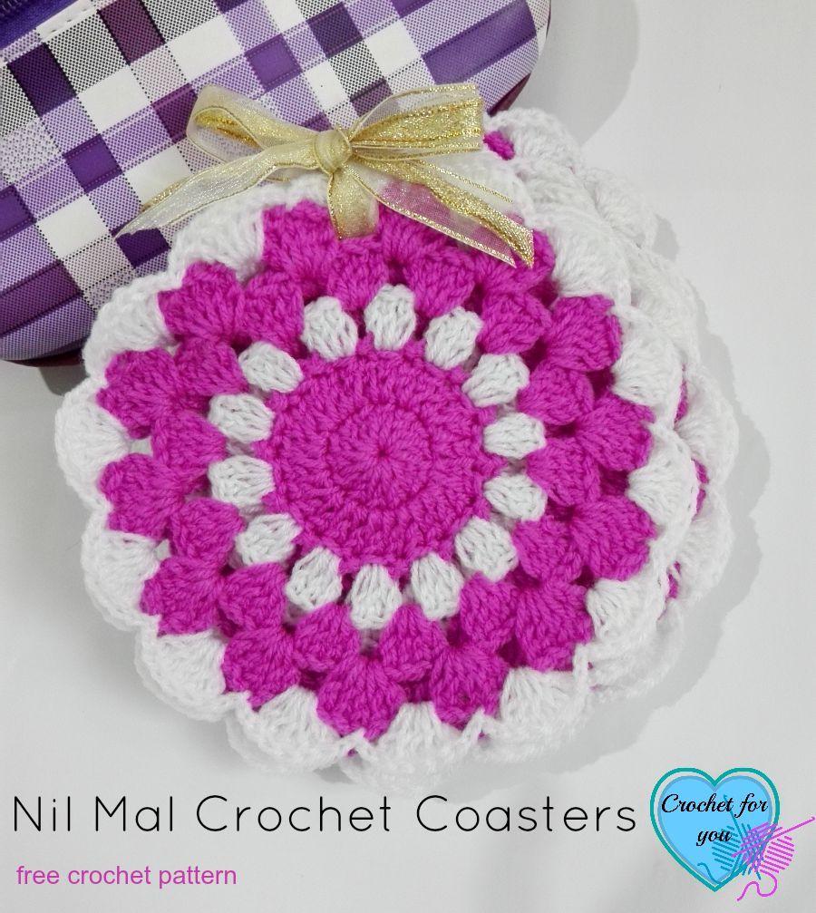 Nil Mal Crochet Coasters Free Pattern | Agarraderas y Tejido