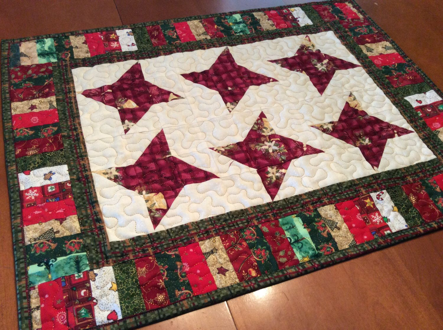 Quilted Christmas star table runner, red multi colored Xmas table ...