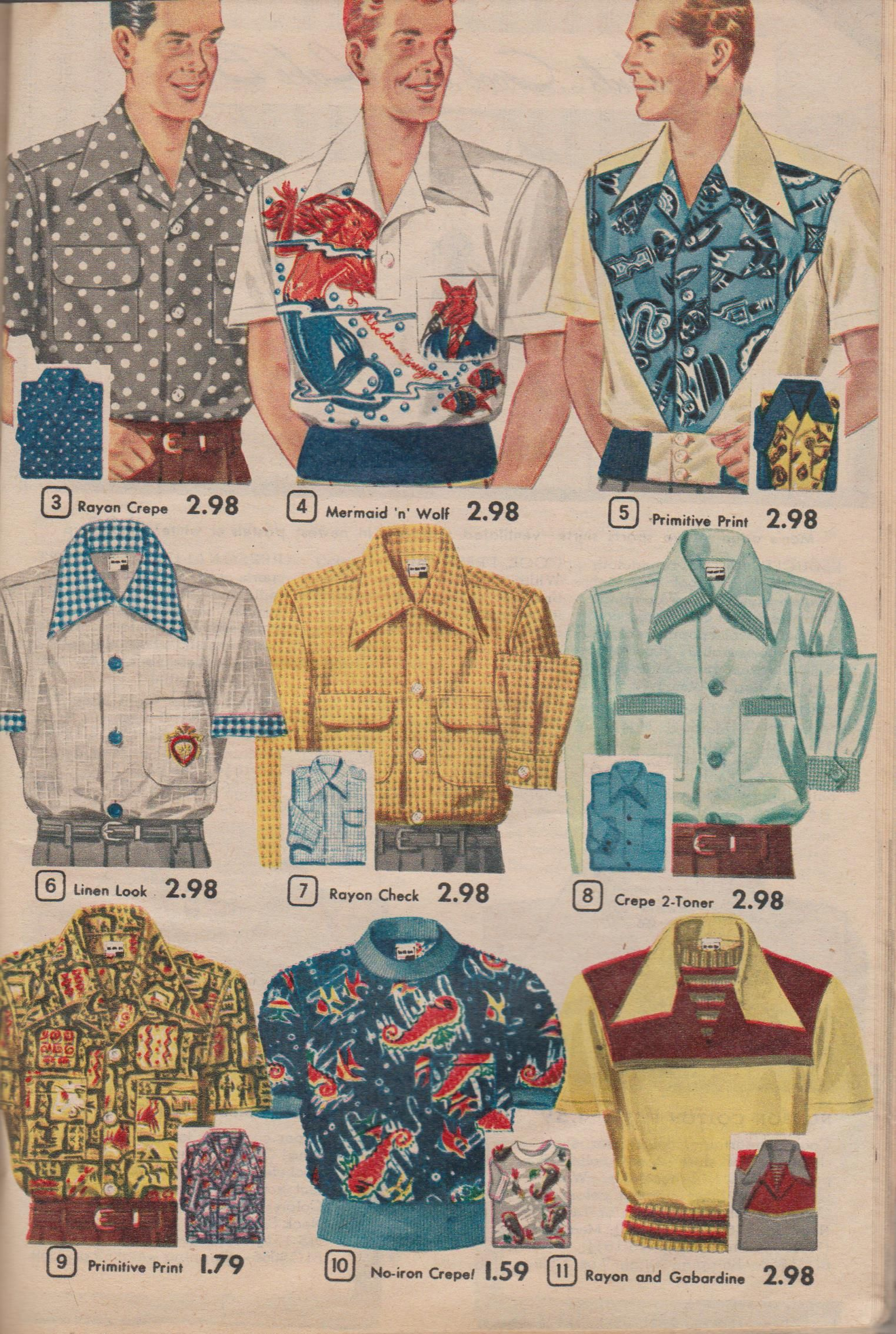 Men\'s Shirts from Aldens 1952 Summer Book of Super Values | Vintage ...