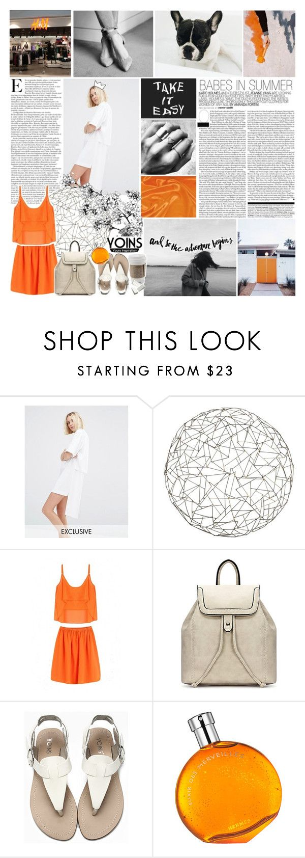 """""""yoins / we'll be the color in all this black and white. ✧"""" by same-sunset ❤ liked on Polyvore featuring House of Sunny, H&M, Arteriors, Hermès, yoins and stylingmysummer"""