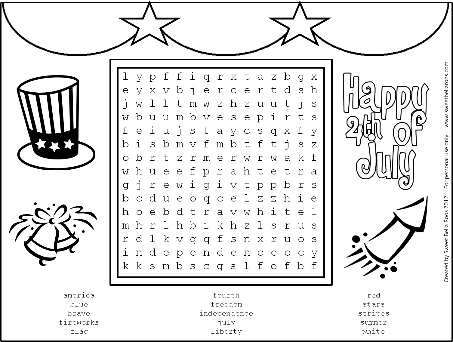 July Fourth Word Search Free Printable