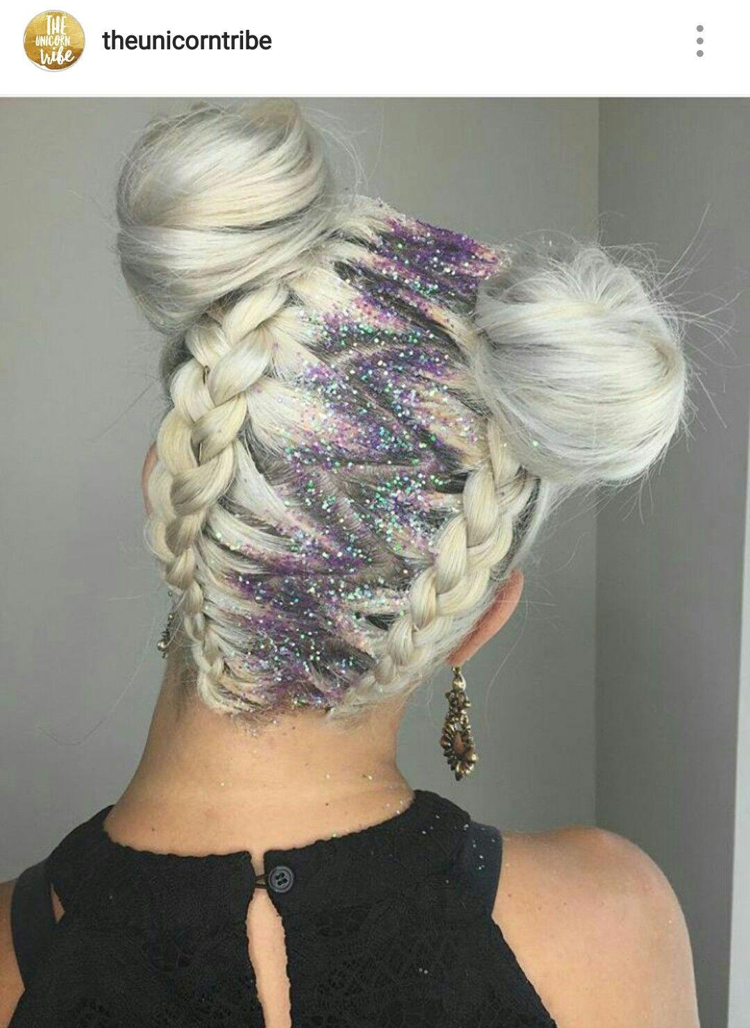 Space Buns Hair Style With Glitter Hair Hair