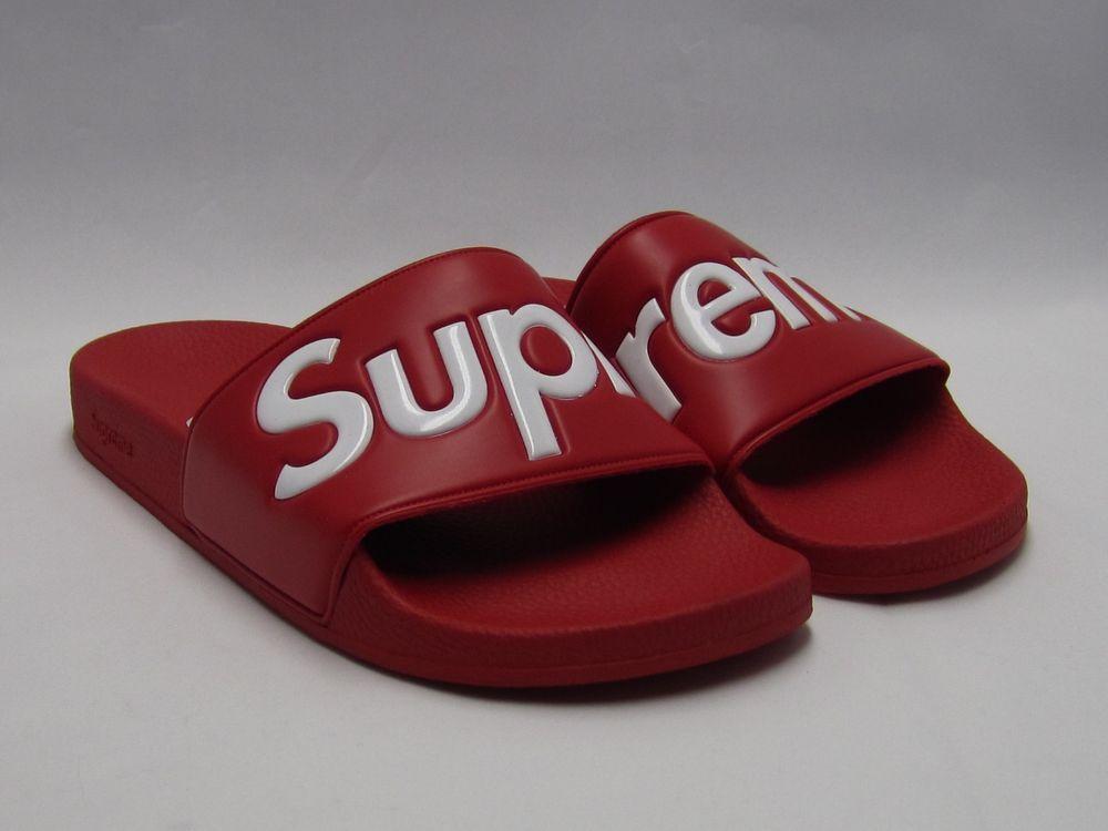 6b76b4872391 SUPREME SANDALS SLIDES FLIP FLOP 9 SS14 BOX LOGO RED DS NEW SOLID  Supreme   Sandals