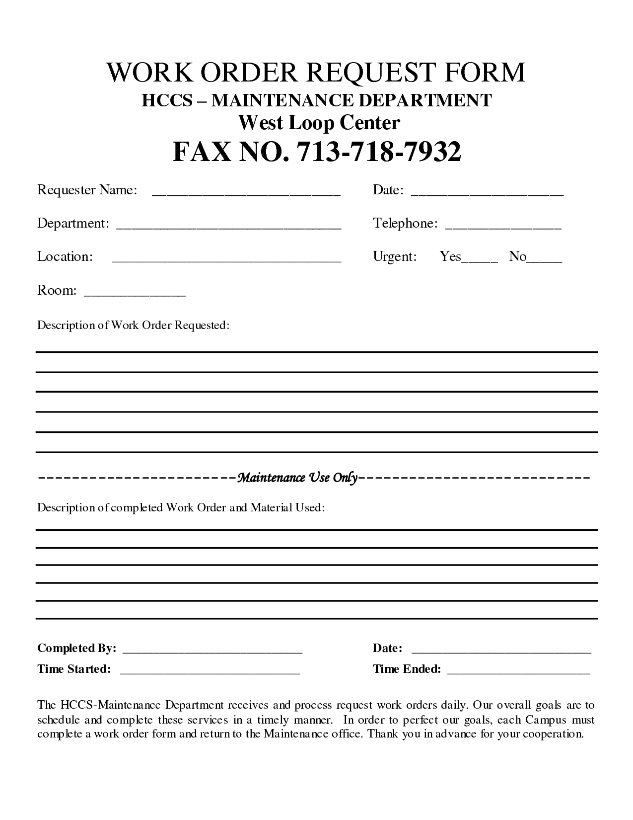 Free Customer Work Order Request Work Order Form