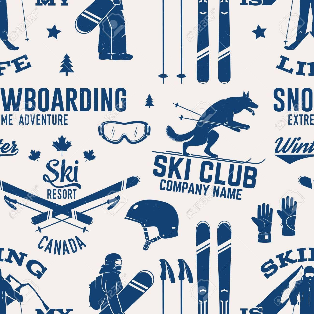 Ski And Snowboard Club Seamless Pattern Vector Illustration Concept For Shirt Print Stamp Badge Vintage Typography Design Badge Design Vintage Typography