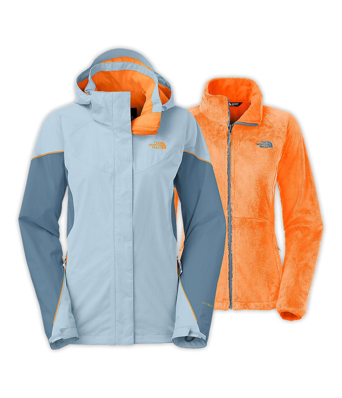 North face women s boundary triclimate jacket in tofino blue cool blue impact orange