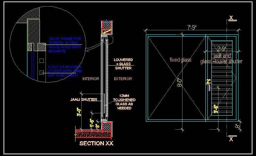 Window Shutter With Jaali Glass And, Fixed Glass Window Detail Cad