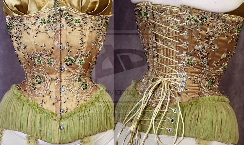 beaded and ruffles corset by ~AtelierSylpheCorsets