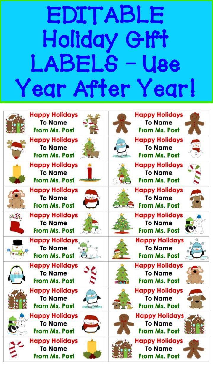 christmas gift tags printable editable