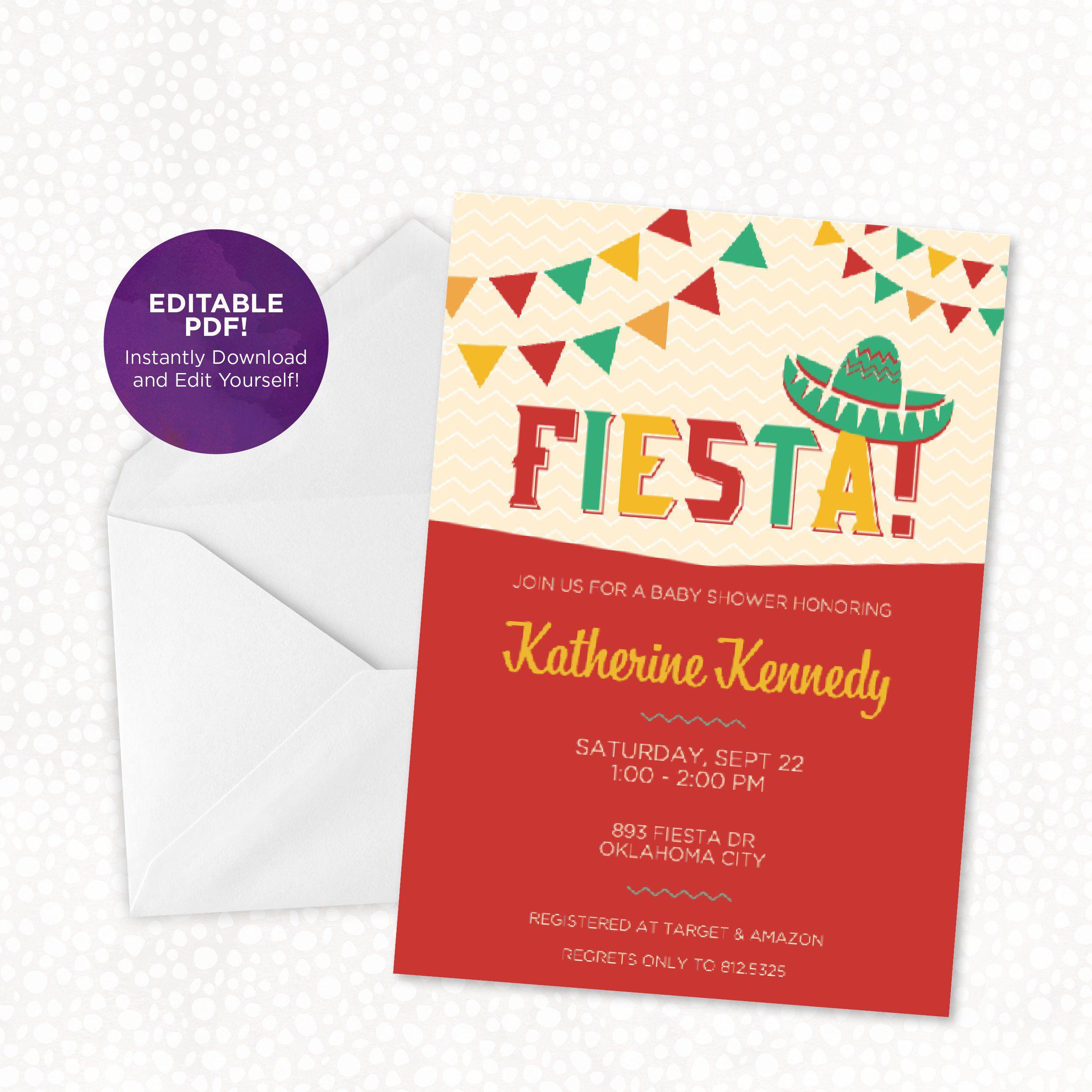 Fiesta Party Invitation, Baby Shower, Birthday, Fiesta Party | Baby ...