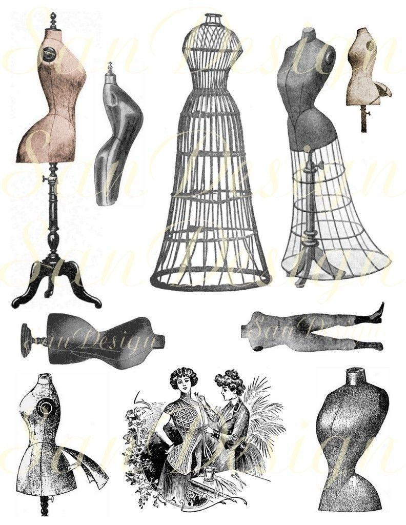 Vintage Dress Forms Digital Collage Sheets No. 407 | Its always ...