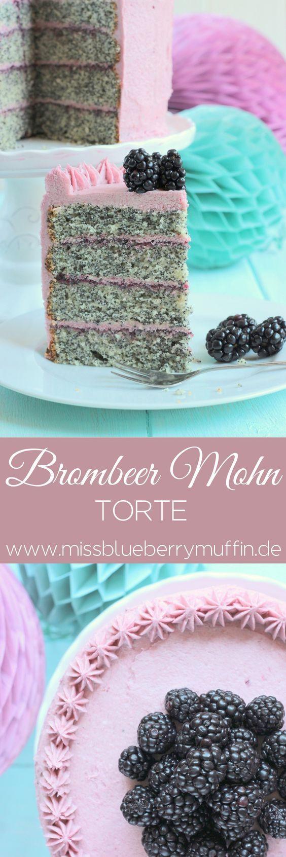 Zauberhafte Brombeer-Mohn-Torte mit Pudding-Buttercreme #brombeerenrezepte
