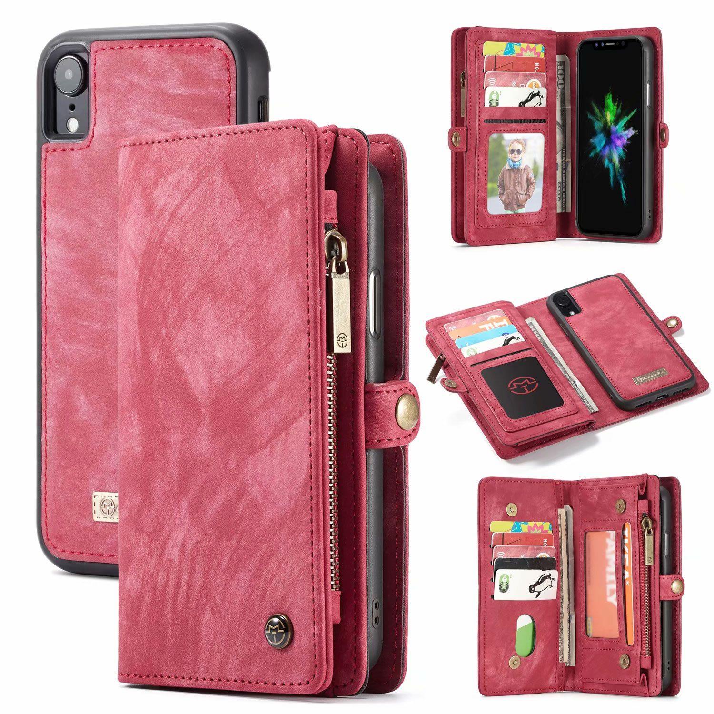Caseme iphone xr detachable 2in1 vintage leather zipper