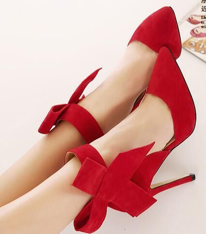 87c7b18ebb28 Plus Size Shoes Women Big Bow Tie Pumps Butterfly Sexy Pointed Stiletto  Shoes Woman High Heels Wedding Party Shoes Red BAOK-ad8d