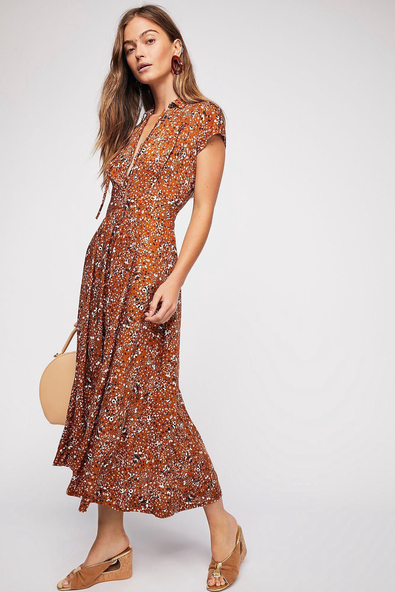 d72a55aec7f Free People  40S Printed Midi Dress - Maraschino Cherry 10 ...