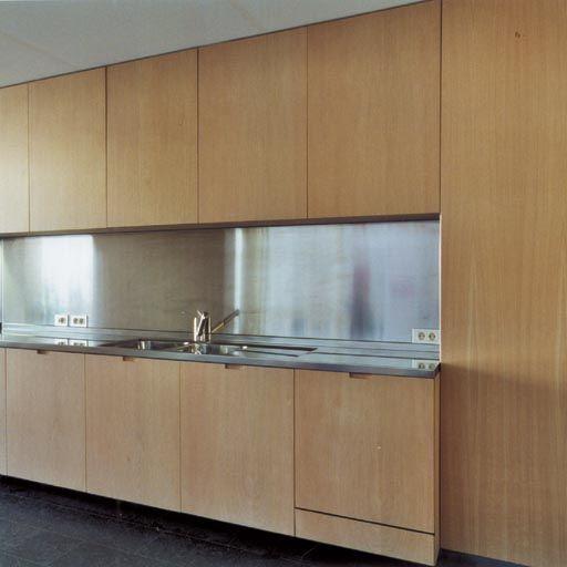 Anigre Plywood Kitchen Cabinets With Rvs Inox Countertop And Backsplash