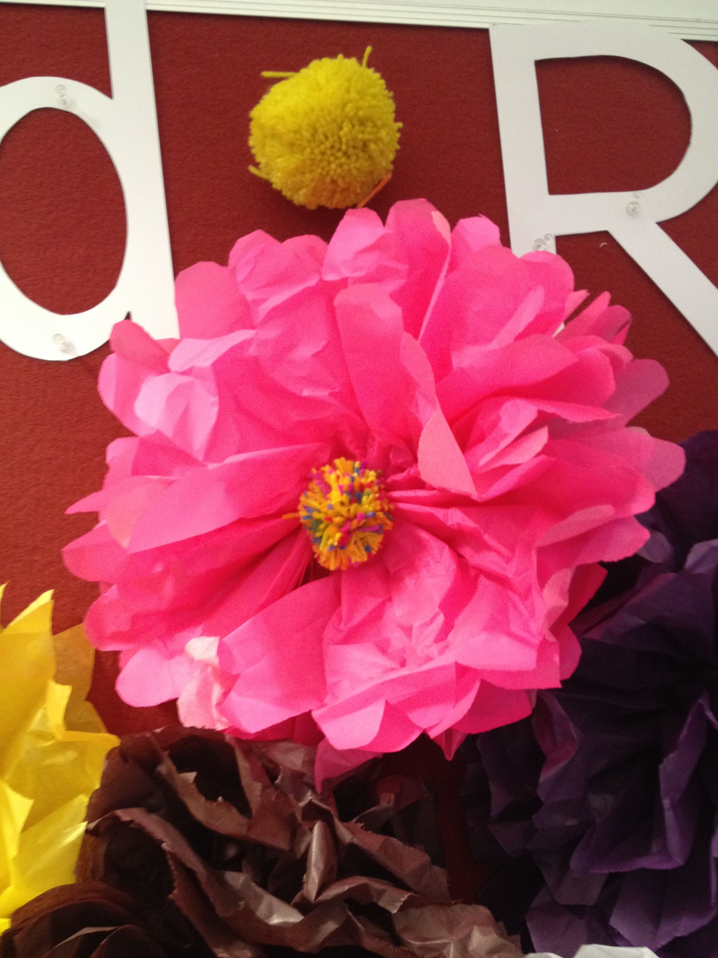 Read And Bloom Library Display Paper Tissue Flowers With Pom Pom