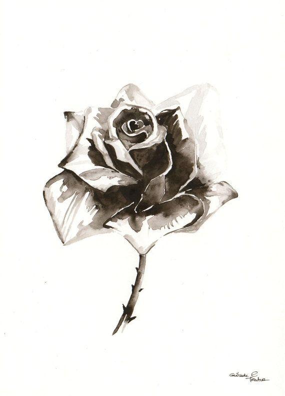 Original Watercolor Painting Black White Grey Rose By Milkfoam