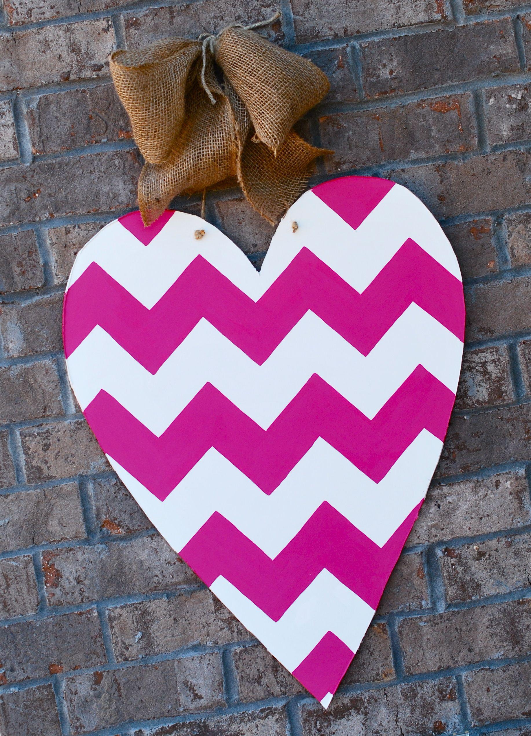 Valentines Chevron Heart Door Hanger