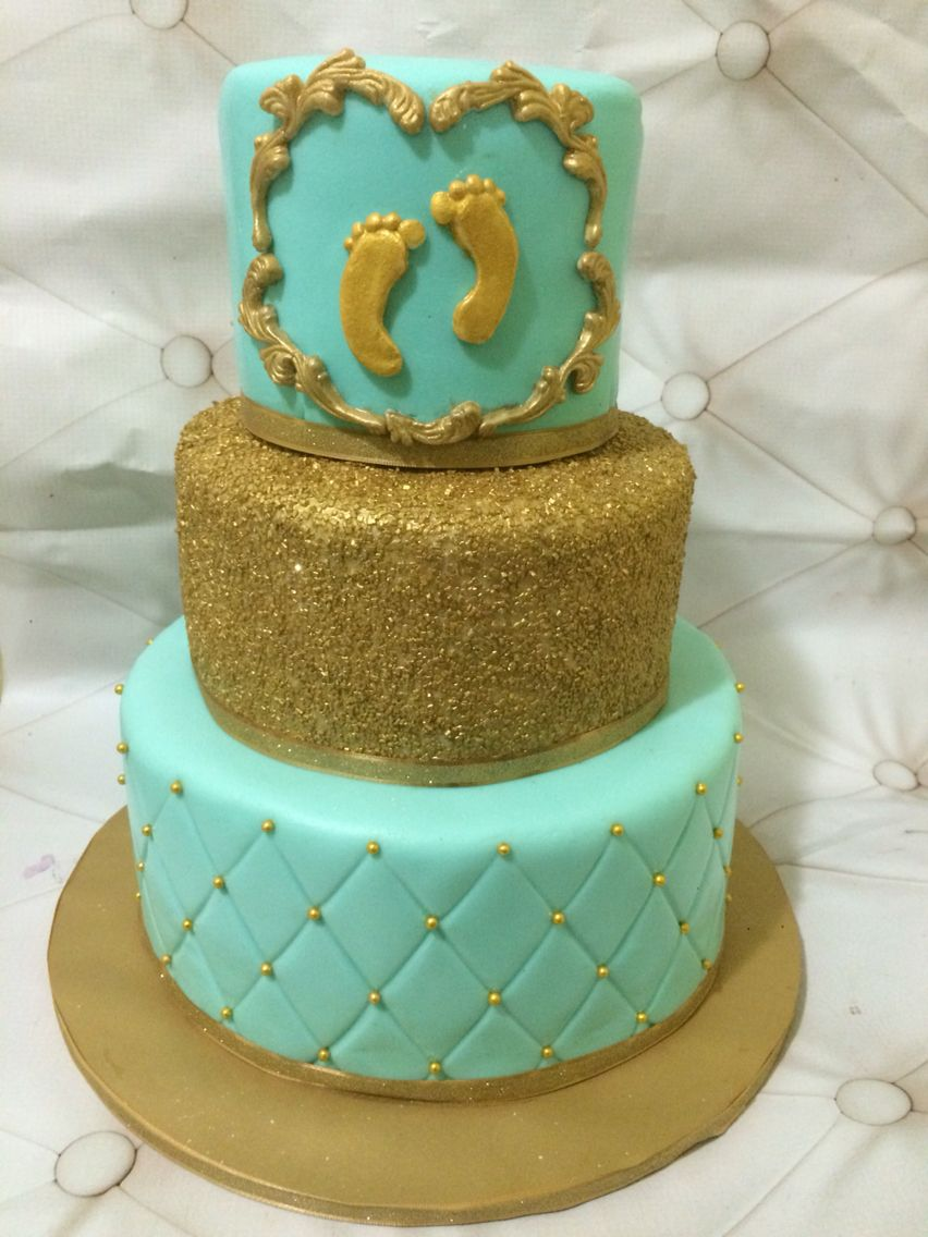 Tiffany Blue And Gold Baby Shower Cake