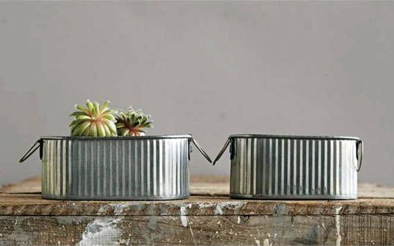 """Set of Two Mini Corrugated Metal Containers - Farmhouse Metal Mini Tubs 5"""" x 3"""" x 2"""" tall and 4.5"""" x 2.5"""" x 2"""" tall. by FarmhouseHomeDecor on Etsy"""