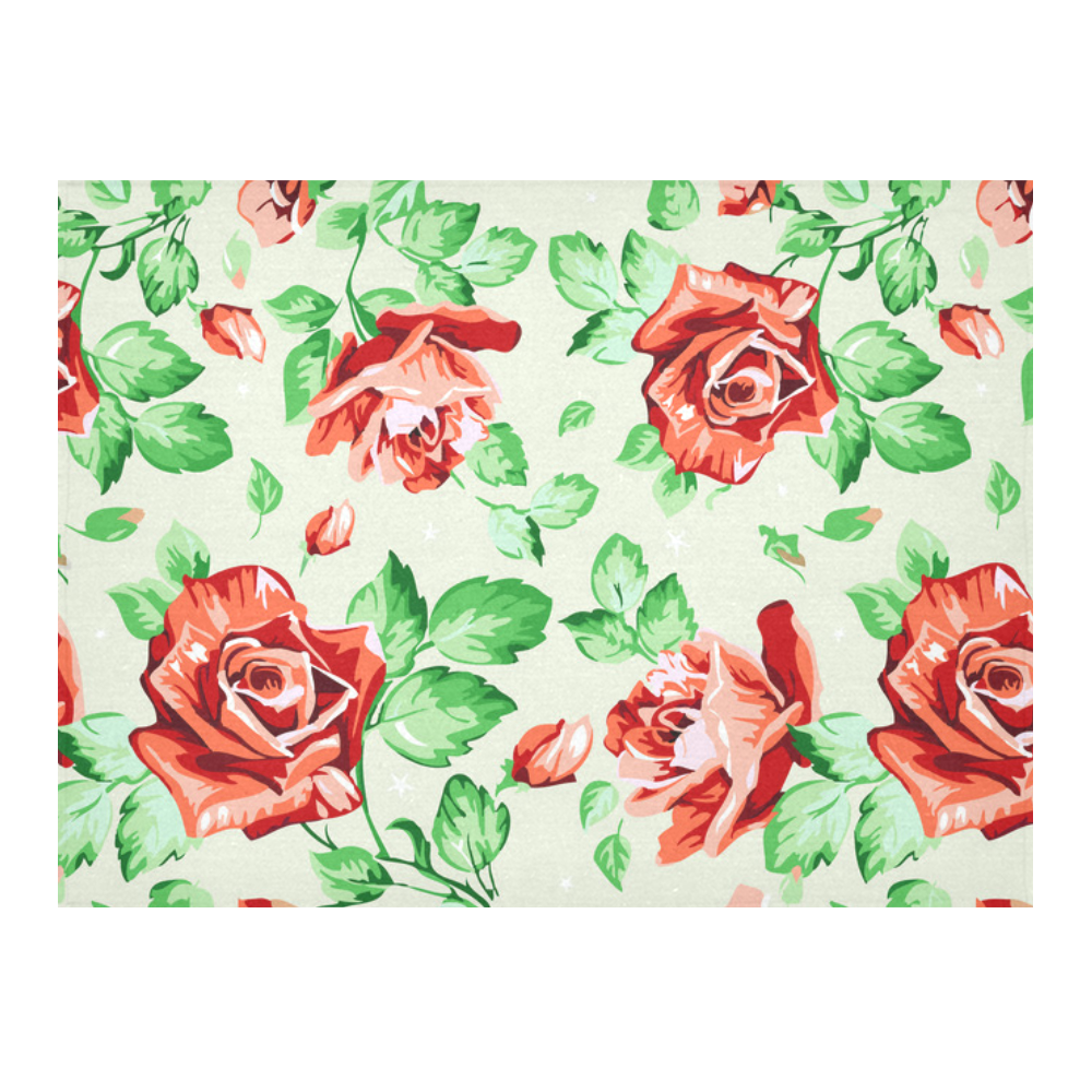 lovemyfabric Red Rose On White Vintage Floral Cotton Tablecloth