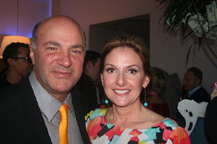 Kim with kevin oleary at the shark tank party shark