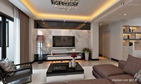 Modern Minimalist Living Room TV Background Wall Drawings Marble Wall  Renderings