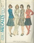 An original ca. 1974 McCall's pattern 4380.  Misses' Top, Skirt and Pants:  Pullover top has back zipper and standing collar.  Top A with lace trim, or top B with flexible trimming has tie belt and long sleeves gathered into snapped cuffs.  Gored skirt, and pants have left side zipper.