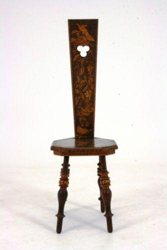 301 105 Sale Antique Scottish Victorian Pokerwork Spinning