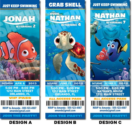 Finding Nemo party invitations Finding Nemo Birthday Party