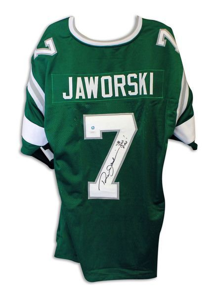 ec494351078 Ron Jaworski Philadelphia Eagles Autographed Green Throwback Jersey  Inscribed