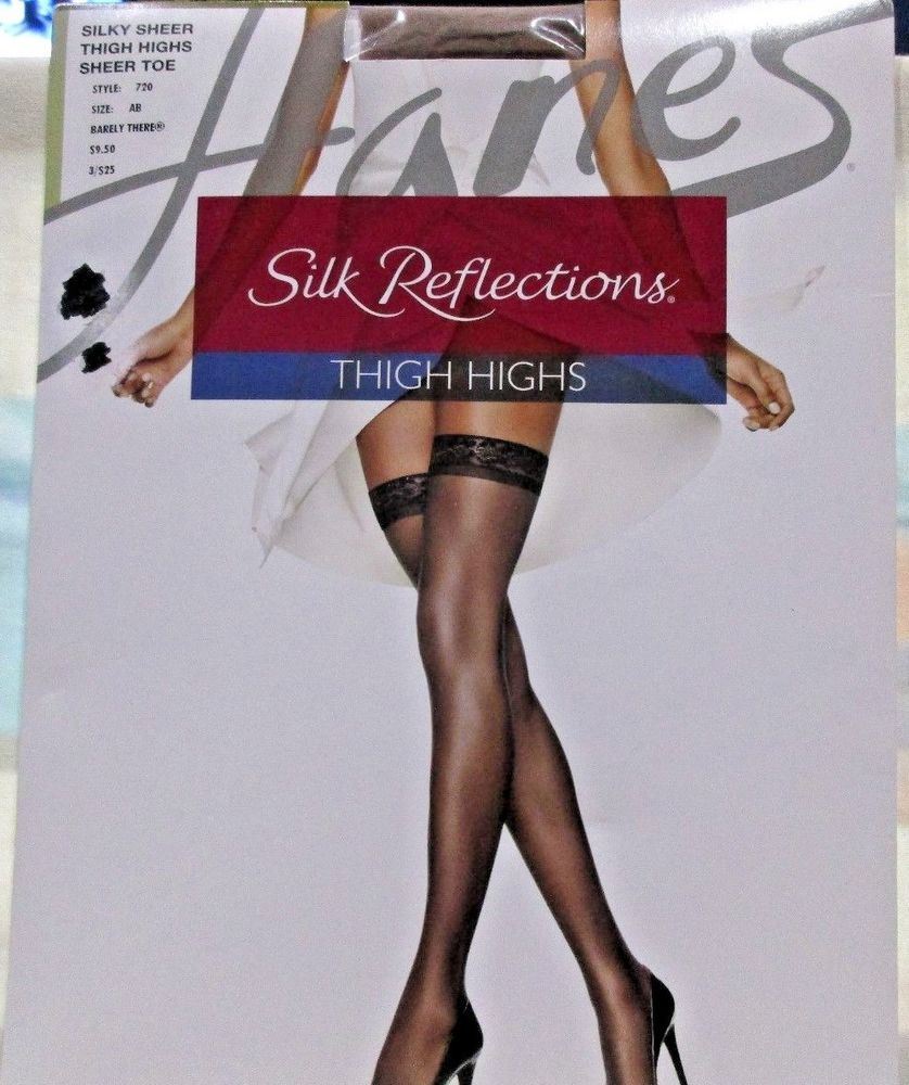 9653dd5a8d6 Hanes Thigh Highs Silk Reflections Silky Sheer Size AB Barely There Style  720  Hanes  ThighHighs