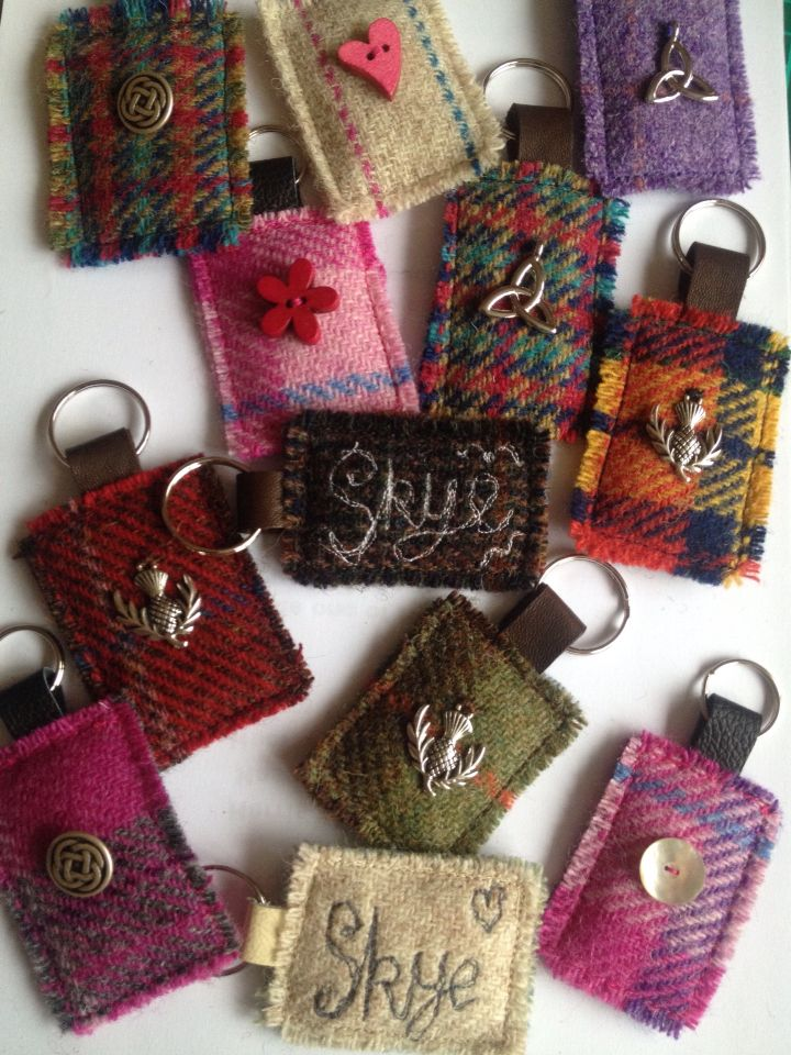 Harris tweed keyrings