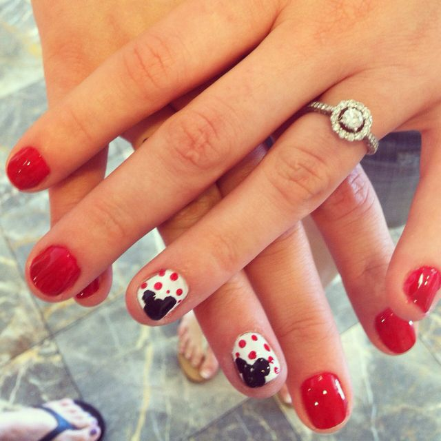 Mickey Mouse Nails: Mickey Mouse Nails. Red. Polkadots
