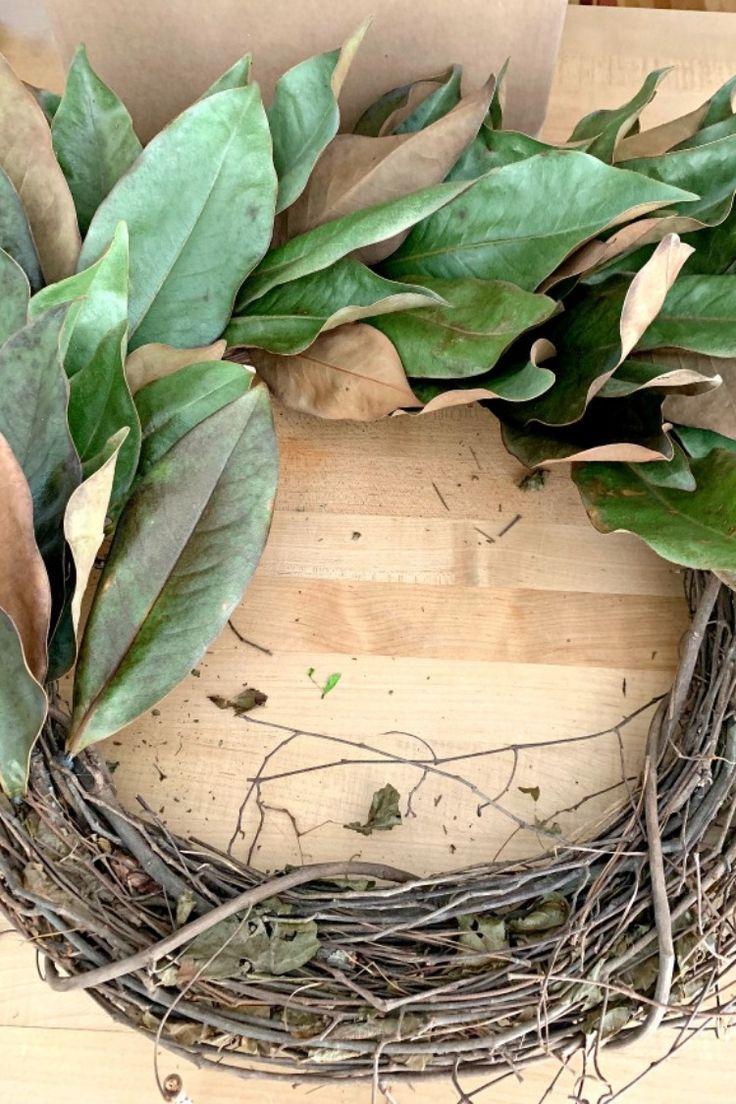 An Easy and Cheap DIY Magnolia Wreath Magnolia wreath