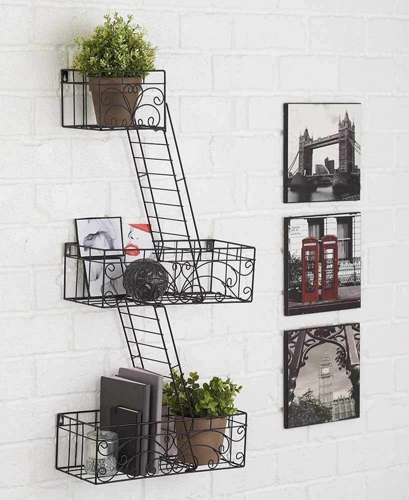 Groovy Fire Escape Wall Shelves Ladder Home Decor Photo Display Fire Escape Wall Decor Home Decorating Ideas Fire Escape Shelf Ebay New York Fire Escape Shelf houzz 01 Fire Escape Shelf